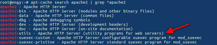 command to use > apt-cache search apache2   grep ^apache2