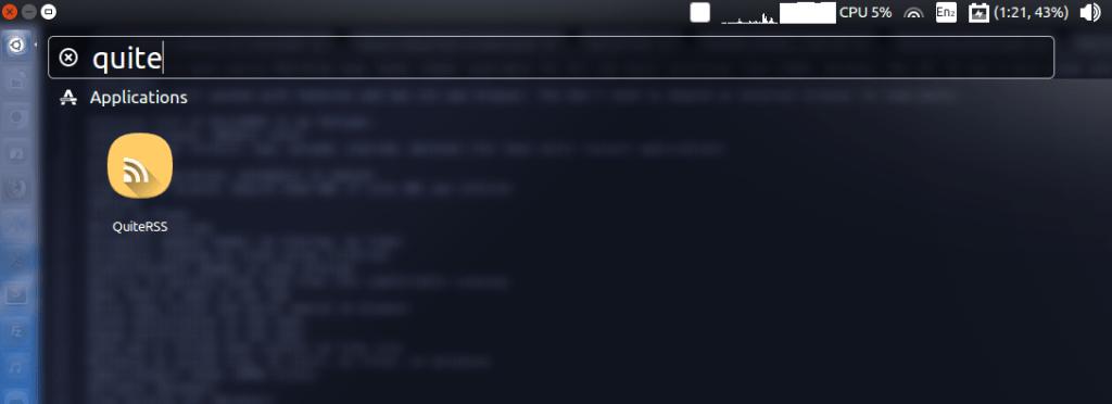 QuiteRSS feed Reader - Ubuntu 16.04 Dash shortcut.